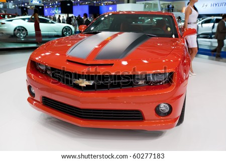 MOSCOW, RUSSIA - AUGUST 26: Chevrolet Camaro is presented on 26 August 2010, Moscow, Russia. Moscow International Autosalon is the largest in Eastern Europe