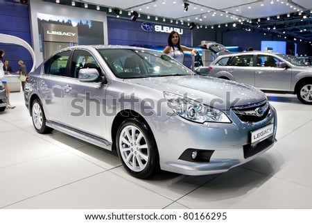 MOSCOW, RUSSIA - AUGUST 25:  Grey Subaru  Legacy on display at Moscow International exhibition InterAuto on August 25, 2010 in Moscow, Russia.