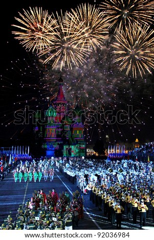 "MOSCOW, RUSSIA - AUGUST 31: Participants of the International Military Music Festival ""Spasskaya Tower"" on August 31, 2011 on Red Square in Moscow, Russia"
