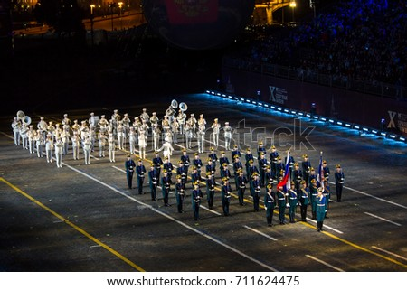 """Moscow, Russia - August, 2017: Performance of The Honor Guard of the Presidential Regiment on International Military Tattoo Music Festival """"Spasskaya Tower"""" in Moscow, Russia #711624475"""