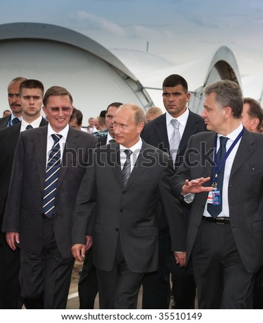 MOSCOW, RUSSIA, AUGUST,18: Prime Minister of Russia Vladimir Putin (c) at the International Aviation and Space salon MAKS,  August,18, 2009 at Zhukovsky, Russia