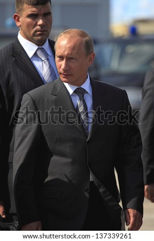MOSCOW, RUSSIA - AUGUST 18: Vladimir Putin, President of Russia at the International Aviation and Space Salon MAKS-August 18, 2009 in Zhukovsky, Russia