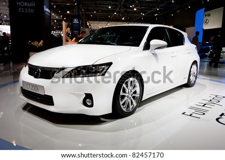 MOSCOW, RUSSIA - AUGUST 25: White Lexus CT 200 H on display at Moscow International exhibition InterAuto on August 25, 2010 in Moscow, Russia.