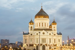Moscow, Russia. Cathedral of Christ the Saviour. View from pedestrian bridge. Evening,  backlighting