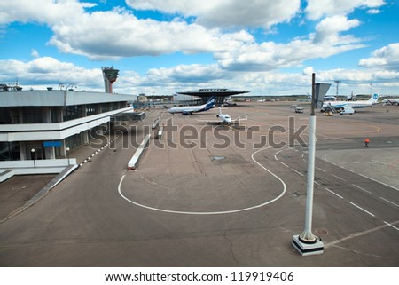MOSCOW, RUSSIA - CIRCA APRIL, 2012: Takeoff and landing field in Sheremetyevo International Airport on circa April, 2012 in Moscow, Russia