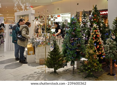 MOSCOW,RUSSIA - DEC 21,2014:Christmas Fair at Family Shopping Centre Mega Khimki.It offers largest variety of shops under one roof and reasonable prices, which creates great opportunities for shopping