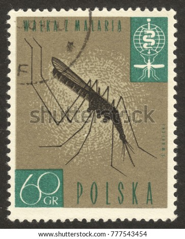 "MOSCOW, RUSSIA - DECEMBER, 2017: a post stamp printed in POLAND shows Anopheles Mosquito (Anopheles sp.), the series ""Fight against Malaria"", circa 1962"