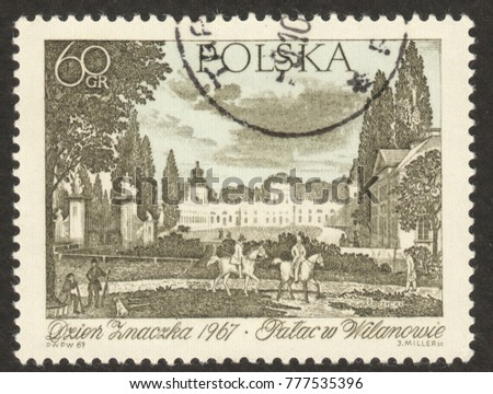 "MOSCOW, RUSSIA - DECEMBER, 2017: a post stamp printed in POLAND shows the painting ""Wilanow palace"" by Wincenty Kasprzycki, circa 1967"