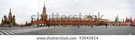 MOSCOW RUSSIA - DECEMBER 29: Panorama view of Red Square on December 29, 2011 in Moscow, Russia. The Red Square is a historical and architectural monument and a symbol for the whole Russia - stock photo