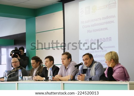 Moscow, Russia - February 11, 2012. Conference on the set of observers to the elections. Hotel Izmailovo. In the photo from right to left Chirikova, Busin, Alborov, Drandin, Velmakin, unknown