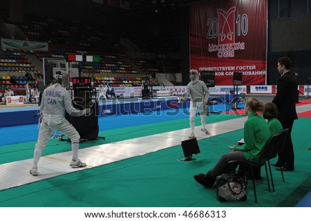 MOSCOW, RUSSIA - FEBRUARY 12: First day of 2010 RFF Moscow Saber World Fencing Tournament, is a one of the most prestigious international competitions in fencing, February 12, 2010 in Moscow, Russia.