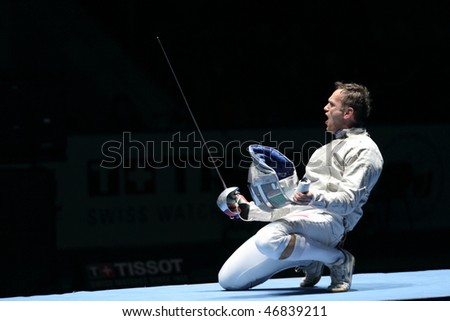 MOSCOW, RUSSIA - FEBRUARY 13: Hungary's Zsolt Nemcsik holder Cup Grand Prix event at the 2010 RFF Moscow Saber World Fencing Tournament, February 13, 2010 in Moscow, Russia.