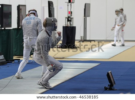 "MOSCOW, RUSSIA - FEBRUARY 12: International tournament in fencing ""Moscow saber"" (Sabre de Moscou) on Small sports arena of the Olympic Complex Luzhniki, February 12, 2010 in Moscow, Russia."