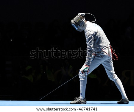 MOSCOW, RUSSIA - FEBRUARY 13: Italy's Luigi Samele compete at the 2010 RFF Moscow Saber World Fencing Tournament, February 13, 2010 in Moscow, Russia.