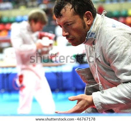 MOSCOW, RUSSIA - FEBRUARY 14: Italy's Luigi Tarantino competes at the 2010 RFF Moscow Saber World Fencing Tournament, February 14, 2010 in Moscow, Russia.
