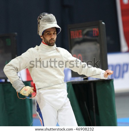 MOSCOW, RUSSIA - FEBRUARY 14: Nicolas Lopez (FRA) compete at the 2010 RFF Moscow Saber World Fencing Tournament, February 14, 2010 in Moscow, Russia.