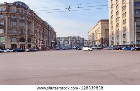 Moscow, Russia - February 15: Panoramic View Of Tverskaya ...
