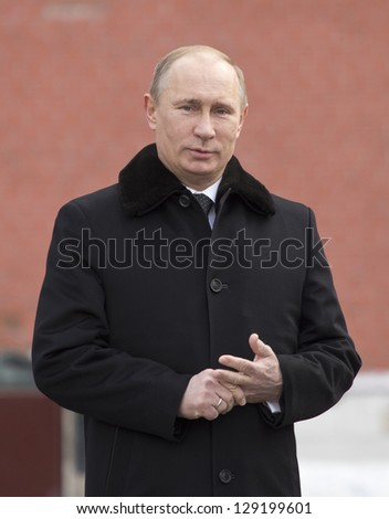 MOSCOW, RUSSIA - FEBRUARY 23: Russian President Vladimir Putin attends a wreath-laying ceremony at the Tomb of the Unknown Soldier, February 23, 2013 in Moscow.