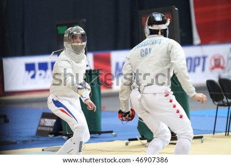 "MOSCOW, RUSSIA - FEBRUARY 14: ""Sabre de Moscou""-2010 Moscow Saber World Fencing Tournament, is a one of the most prestigious international competitions in fencing, February 14, 2010 in Moscow, Russia."