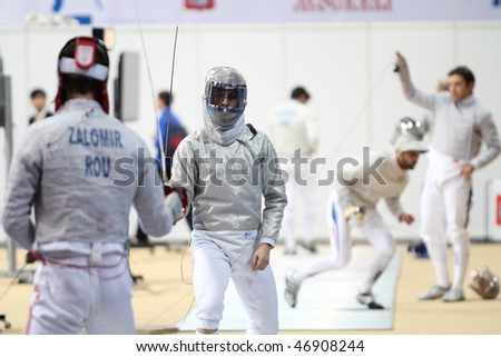 """MOSCOW, RUSSIA - FEBRUARY 14: """"Sabre de Moscou""""-2010 Moscow Saber World Fencing Tournament, is a one of the most prestigious international competitions in fencing, February 14, 2010 in Moscow, Russia."""