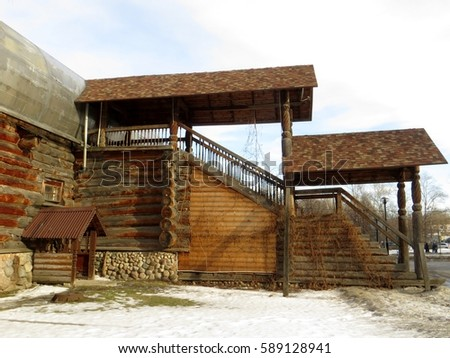 Moscow . Russia. February 25, 2017. View of decorative wooden dwelling house located near Kremlin Izmailovo. #589128941