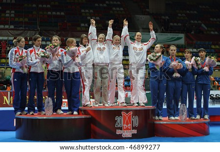 MOSCOW, RUSSIA - FEBRUARY 16: Women's national teams of Russia, France and Ukraine finalists at the 2010 RFF Moscow Saber World Fencing Tournament, February 16, 2010 in Moscow, Russia.