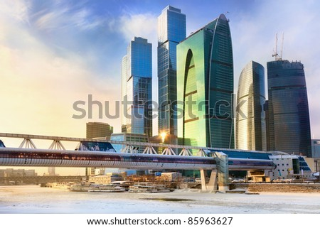MOSCOW,RUSSIA-JAN 01:Skyscrapers of the MIBC on 6 JAN,2011 in Moscow.The total cost of the project is estimated at $12 billion.MIBC is the 100 hectare development area 7km to west of downtown Moscow