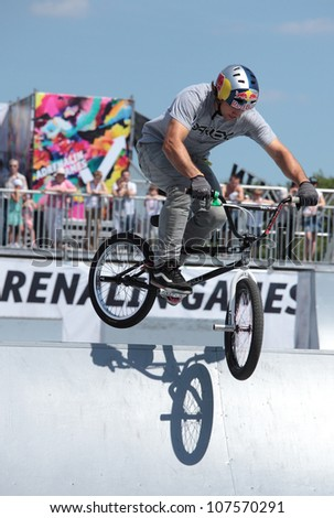 MOSCOW, RUSSIA - JULY 8: Alessandro Barbero, Italy, in BMX competitions during Adrenalin Games in Moscow, Russia on July 8, 2012