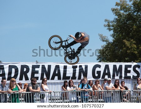MOSCOW, RUSSIA - JULY 8: Alexander Nikulin, Russia, in BMX competitions during Adrenalin Games in Moscow, Russia on July 8, 2012
