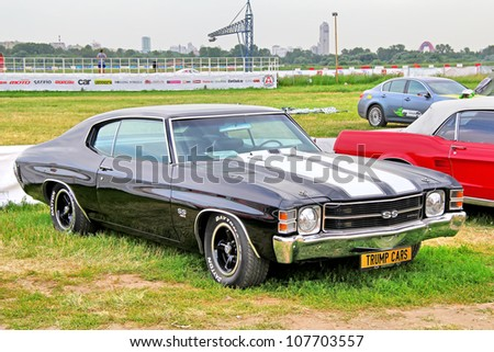 MOSCOW, RUSSIA - JULY 6: American muscle car Chevrolet Chevelle SS exhibited at the annual International Motor show Autoexotica on July 6, 2012 in Moscow, Russia.