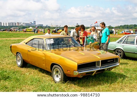"""MOSCOW, RUSSIA - JULY 10: American muscle car Dodge Charger exhibited at the annual International Motor show """"Autoexotica"""" on July 10, 2011 in Moscow, Russia."""
