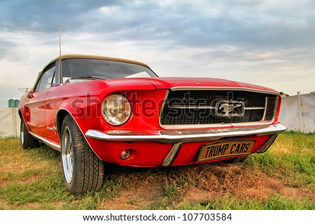 MOSCOW, RUSSIA - JULY 6: American muscle car Ford Mustang exhibited at the annual International Motor show Autoexotica on July 6, 2012 in Moscow, Russia.