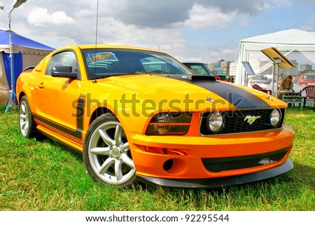 "MOSCOW, RUSSIA - JULY 10: American muscle car Ford Mustang exhibited at the annual International Motor show ""Autoexotica"" on July 10, 2011 in Moscow, Russia."