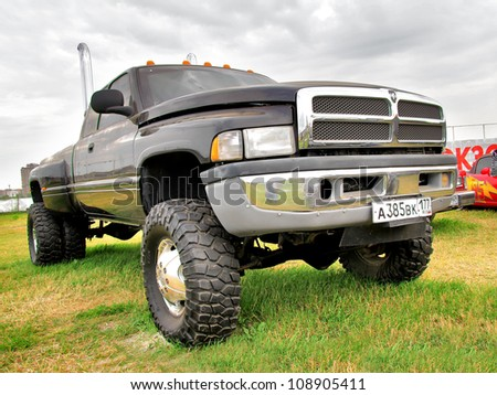 MOSCOW, RUSSIA - JULY 6: American off-road truck Dodge Dakota exhibited at the annual International Motor show Autoexotica on July 6, 2012 in Moscow, Russia. - stock photo