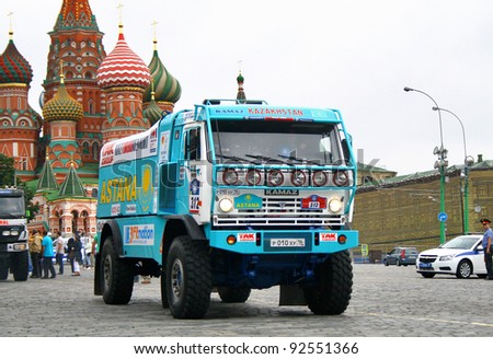 MOSCOW, RUSSIA - JULY 10: Artur Ardavichus's KAMAZ 4326 competes at the annual Rally Silkway - Dakar series on July 10, 2011 on the Red Square, Moscow, Russia.