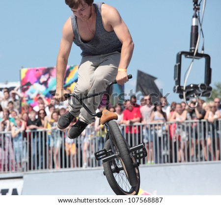 MOSCOW, RUSSIA - JULY 8: Boris Galas, Russia, in BMX competitions during Adrenalin Games in Moscow, Russia on July 8, 2012