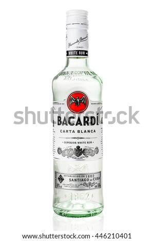 Moscow Russia. July 2 2016. bottle of Bacardi rum
