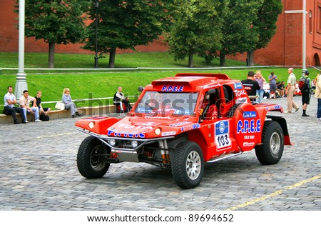 MOSCOW, RUSSIA - JULY 10: Christian Lavieille's Nissan Hardbody takes part at the annual Rally Silkway - Dakar series on July 10, 2011 IN Red Square, Moscow, Russia.