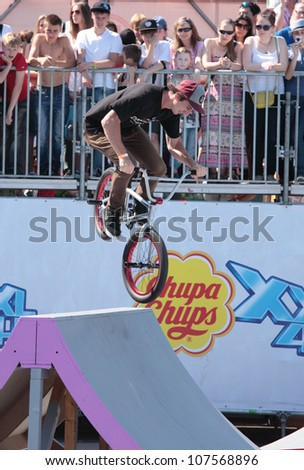 MOSCOW, RUSSIA - JULY 8: Christian Rigal, USA, in BMX competitions during Adrenalin Games in Moscow, Russia on July 8, 2012