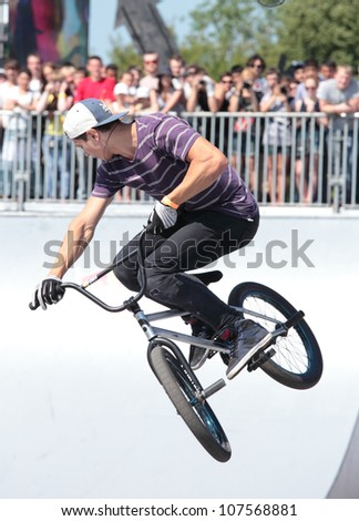 MOSCOW, RUSSIA - JULY 8: Denis Pavlov, Russia, in BMX competitions during Adrenalin Games in Moscow, Russia on July 8, 2012