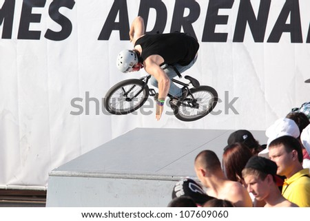 MOSCOW, RUSSIA - JULY 8: Konstantin Andreev, Russia, in BMX competitions during Adrenalin Games in Moscow, Russia at July 8, 2012