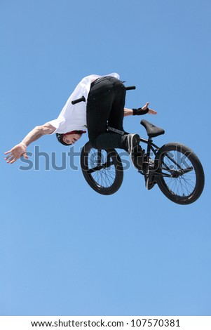 MOSCOW, RUSSIA - JULY 8: Maxim Chuprina, Russia, in BMX competitions during Adrenalin Games in Moscow, Russia on July 8, 2012