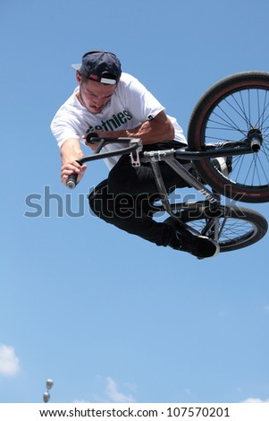 MOSCOW, RUSSIA - JULY 8: Nikita Zharkov, Russia, in BMX competitions during Adrenalin Games in Moscow, Russia on July 8, 2012