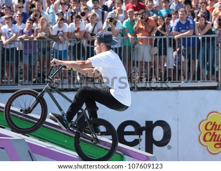 MOSCOW, RUSSIA - JULY 8: Nikita Zharkov, Russia, in BMX competitions during Adrenalin Games in Moscow, Russia at July 8, 2012