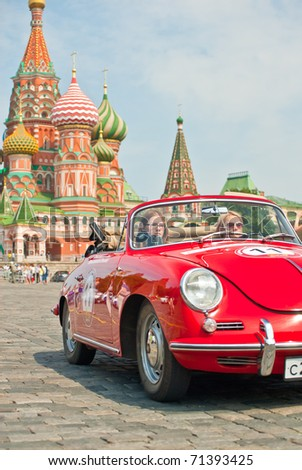 MOSCOW,RUSSIA-JULY 10: Red Porsche-Convertible-D-1958 is on display at the start annual Rally of classical cars Zolotoe kol'co on Red Square with more than 30 crews, on July 10, 2010 in Moscow, Russia