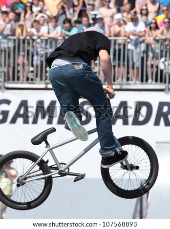 MOSCOW, RUSSIA - JULY 8: Sean Ricany, USA, in BMX competitions during Adrenalin Games in Moscow, Russia on July 8, 2012