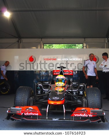 MOSCOW, RUSSIA - JULY 14: Vodafone McLaren Mercedes sport car at Moscow City Racing. Formula 1 teams show in historical city center of Moscow. Taken on July 14, 2012 in Moscow, Russia.