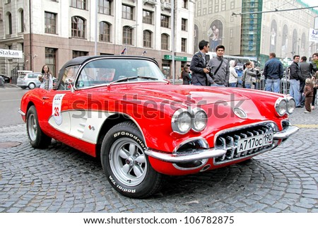 MOSCOW, RUSSIA - JUNE 3: American motor car Chevrolet Corvette competes at the annual L.U.C. Chopard Classic Weekend Rally on June 3, 2012 in Moscow, Russia.