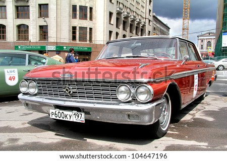 MOSCOW, RUSSIA - JUNE 3: American motor car Ford Galaxie competes at the annual L.U.C. Chopard Classic Weekend Rally on June 3, 2012 in Moscow, Russia.