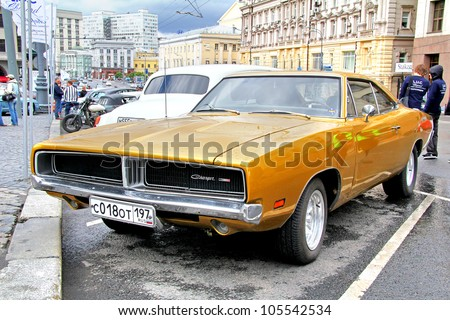MOSCOW, RUSSIA - JUNE 3: American muscle car Dodge Charger competes at the annual L.U.C. Chopard Classic Weekend Rally on June 3, 2012 in Moscow, Russia.